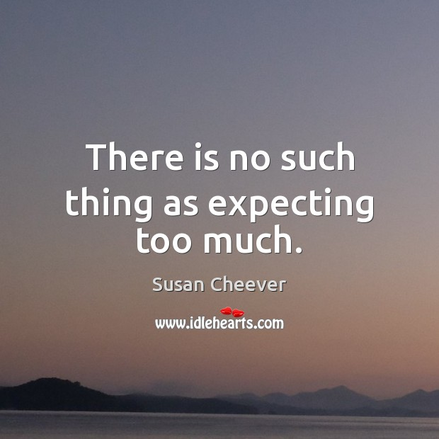 There is no such thing as expecting too much. Susan Cheever Picture Quote