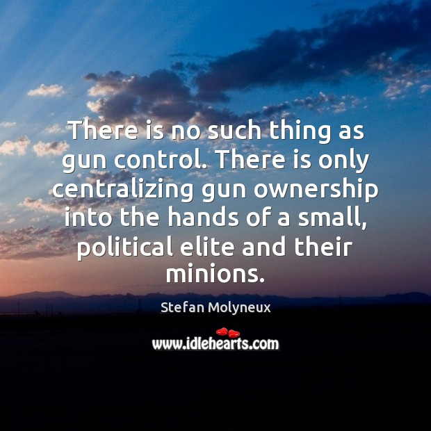 There is no such thing as gun control. There is only centralizing Stefan Molyneux Picture Quote
