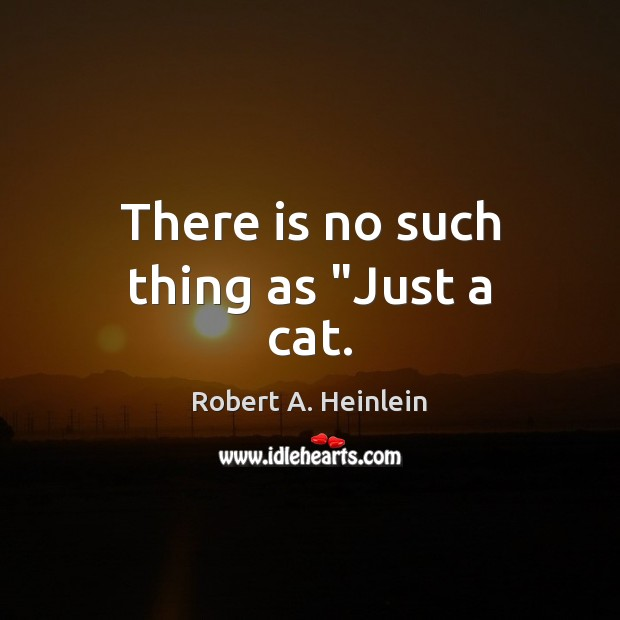 """There is no such thing as """"Just a cat. Robert A. Heinlein Picture Quote"""