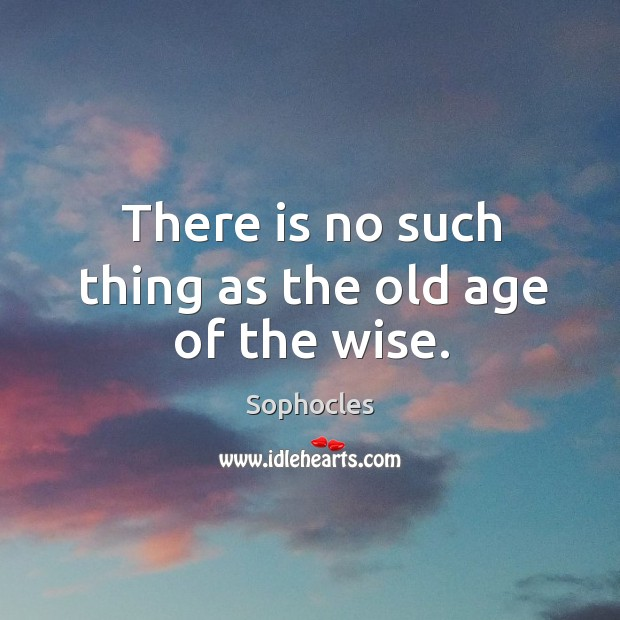 Image, There is no such thing as the old age of the wise.