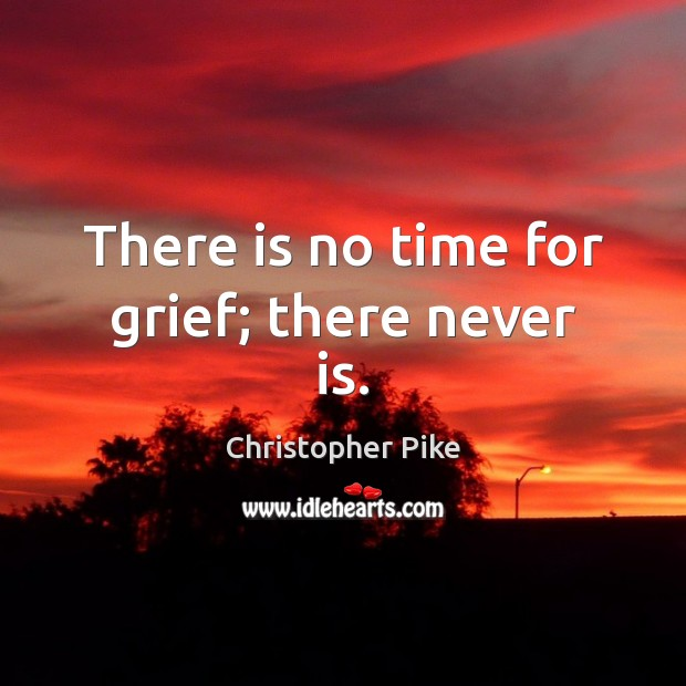 There is no time for grief; there never is. Christopher Pike Picture Quote