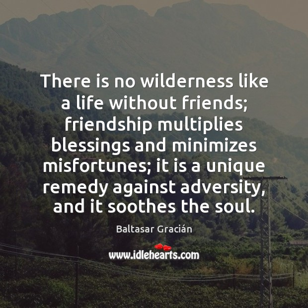 There is no wilderness like a life without friends; friendship multiplies blessings Image