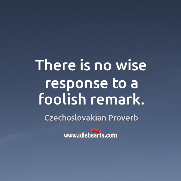There is no wise response to a foolish remark. Czechoslovakian Proverbs Image