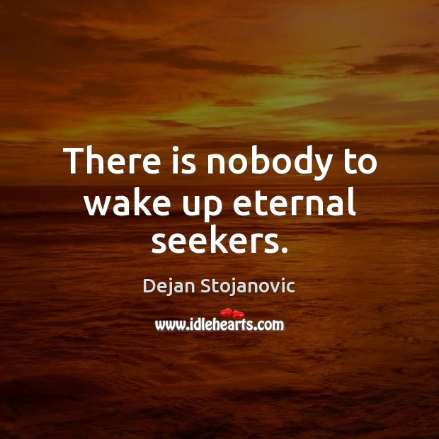 There is nobody to wake up eternal seekers. Dejan Stojanovic Picture Quote