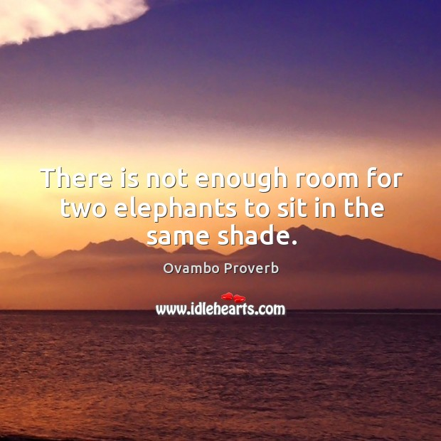 Image, There is not enough room for two elephants to sit in the same shade.