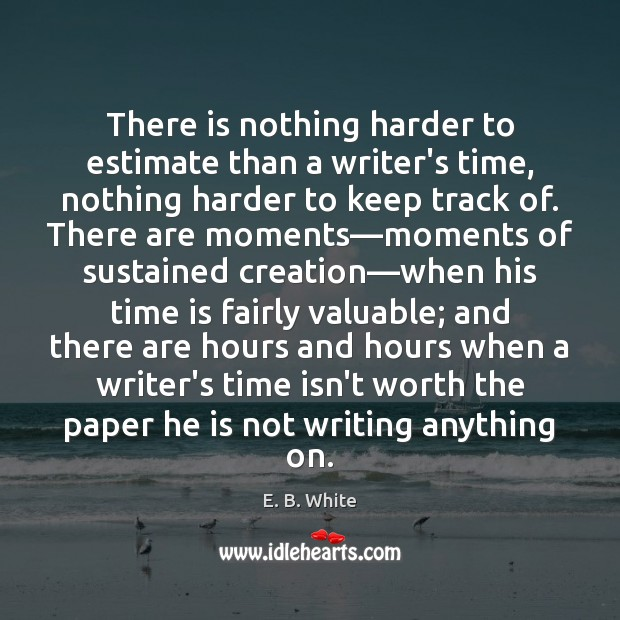 Image, There is nothing harder to estimate than a writer's time, nothing harder
