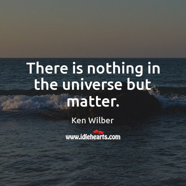 There is nothing in the universe but matter. Ken Wilber Picture Quote