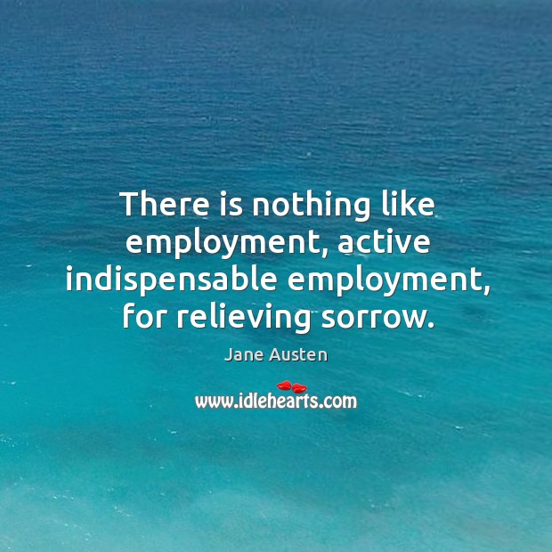 There is nothing like employment, active indispensable employment, for relieving sorrow. Image