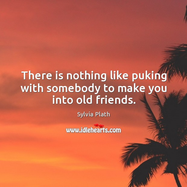 There is nothing like puking with somebody to make you into old friends. Image