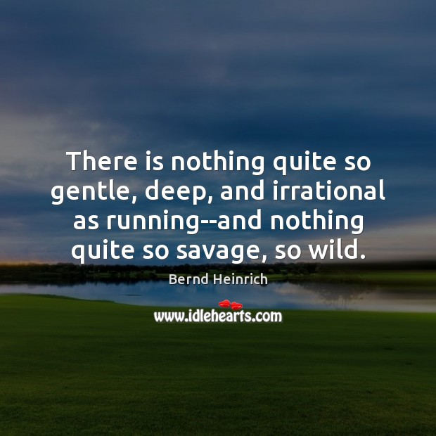 Image, There is nothing quite so gentle, deep, and irrational as running–and nothing