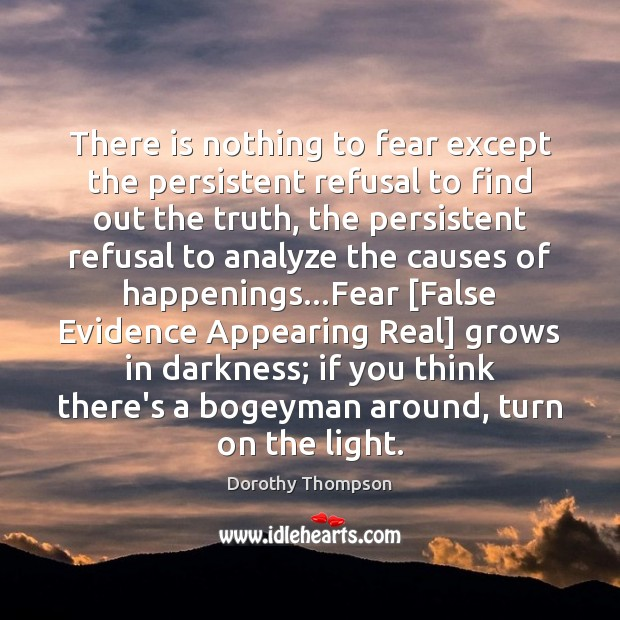 There is nothing to fear except the persistent refusal to find out Dorothy Thompson Picture Quote