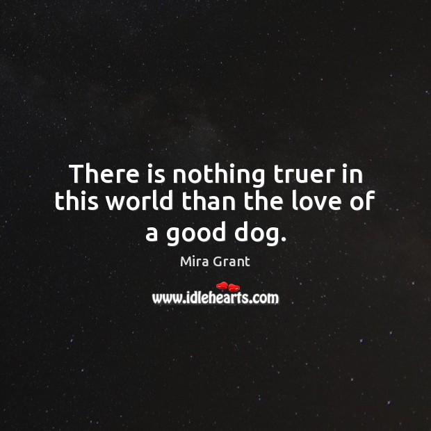 There is nothing truer in this world than the love of a good dog. Mira Grant Picture Quote