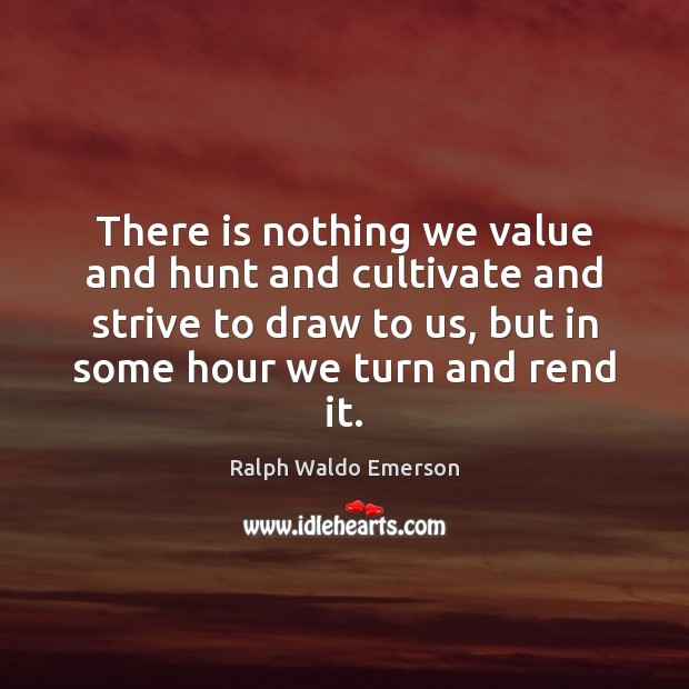 There is nothing we value and hunt and cultivate and strive to Image