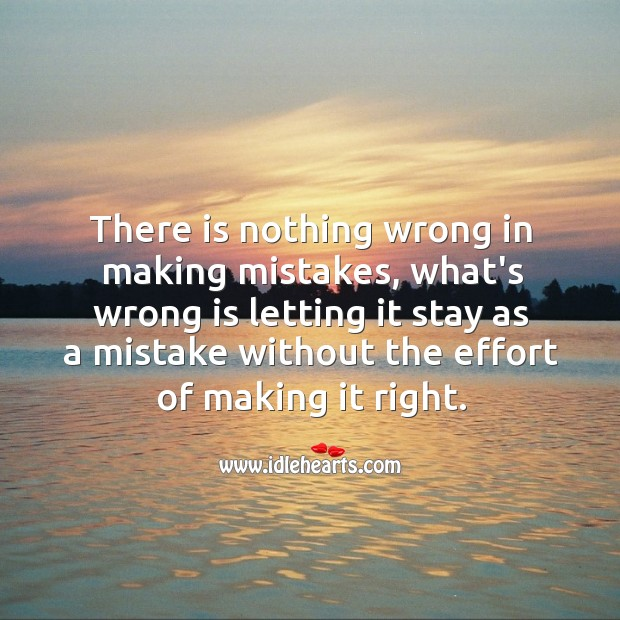 There is nothing wrong in making mistakes. Effort Quotes Image