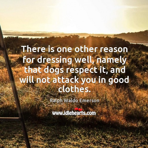 There is one other reason for dressing well, namely that dogs respect Image