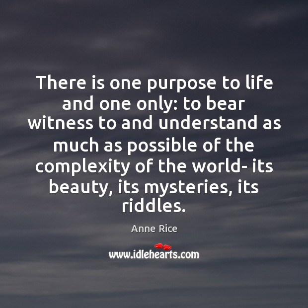 There is one purpose to life and one only: to bear witness Anne Rice Picture Quote