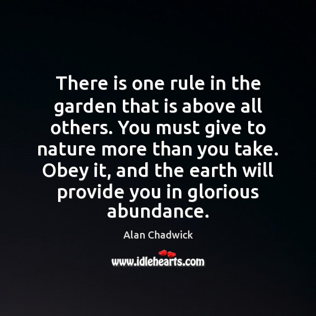 There is one rule in the garden that is above all others. Image