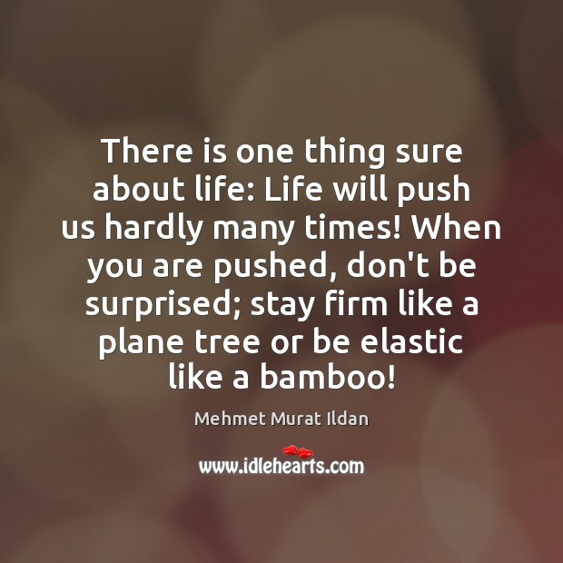 There is one thing sure about life: Life will push us hardly Image