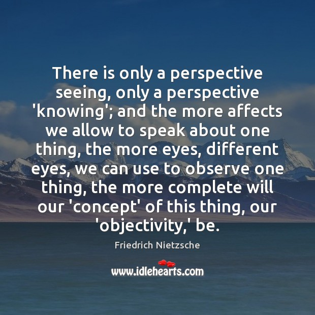 There is only a perspective seeing, only a perspective 'knowing'; and the Image