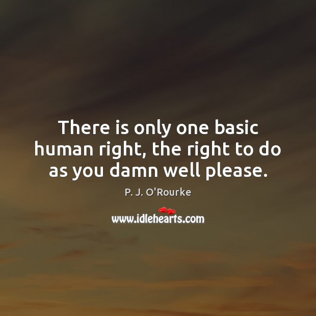 Image, There is only one basic human right, the right to do as you damn well please.