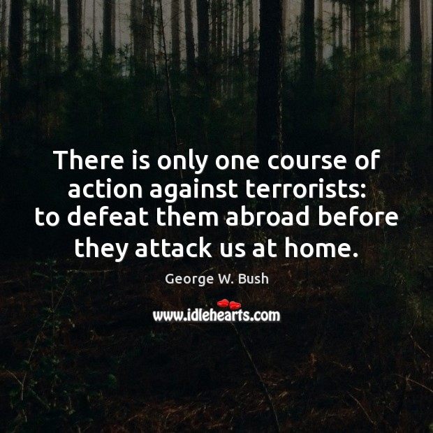 Image, There is only one course of action against terrorists: to defeat them