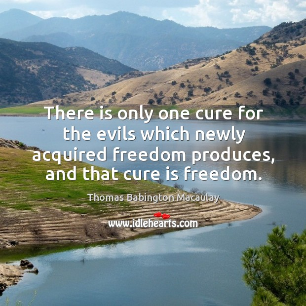 There is only one cure for the evils which newly acquired freedom produces, and that cure is freedom. Thomas Babington Macaulay Picture Quote
