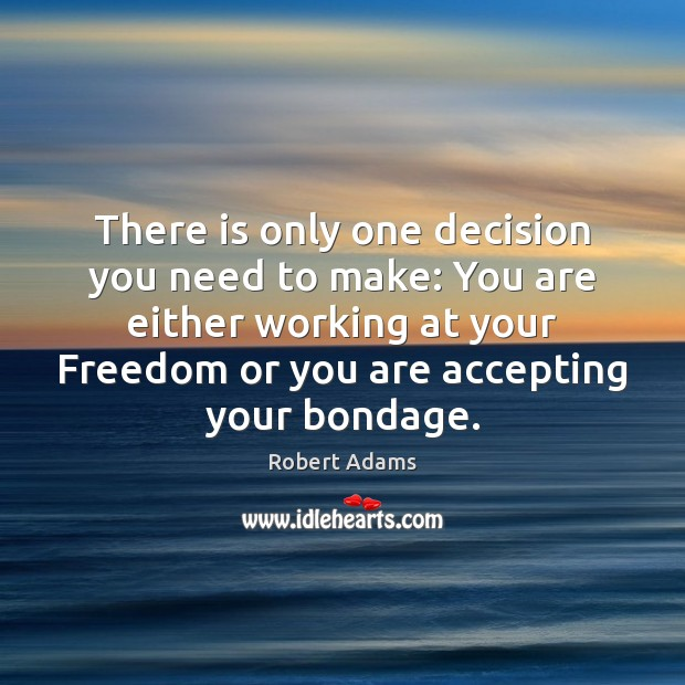 There is only one decision you need to make: You are either Robert Adams Picture Quote