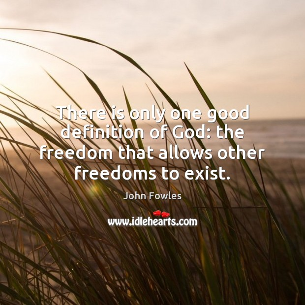 There is only one good definition of God: the freedom that allows other freedoms to exist. John Fowles Picture Quote
