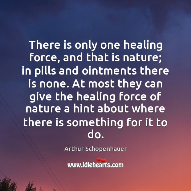 There is only one healing force, and that is nature; in pills Image