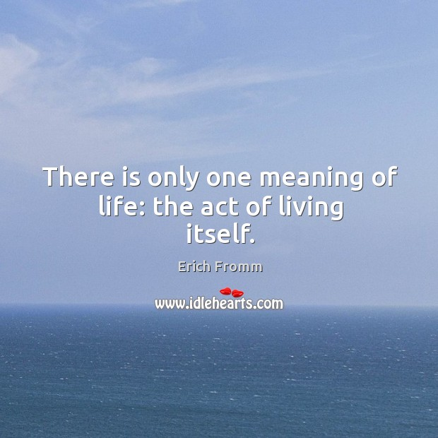 Image, There is only one meaning of life: the act of living itself.