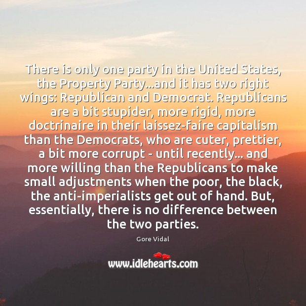 There is only one party in the United States, the Property Party… Gore Vidal Picture Quote