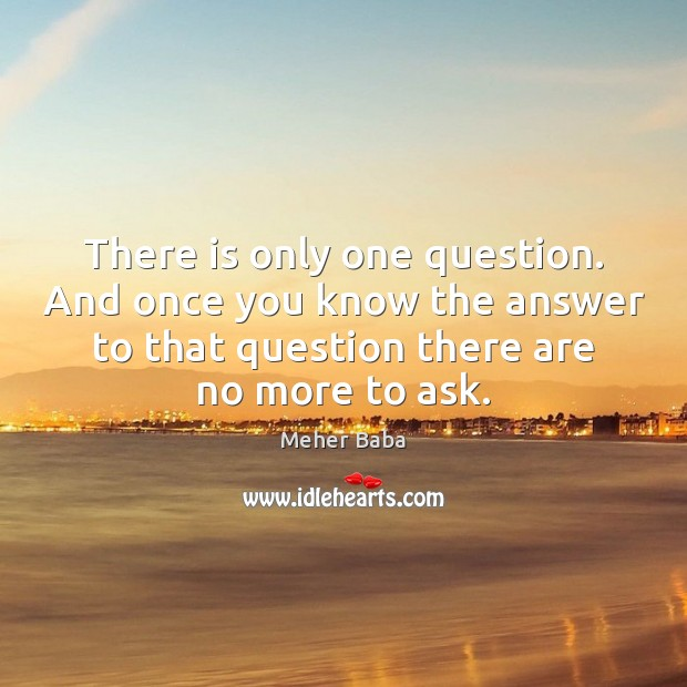 There is only one question. And once you know the answer to Meher Baba Picture Quote