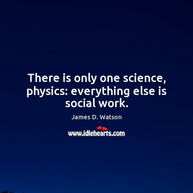 There is only one science, physics: everything else is social work. James D. Watson Picture Quote