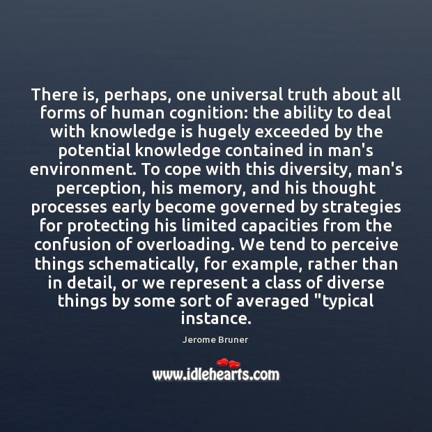 There is, perhaps, one universal truth about all forms of human cognition: Image