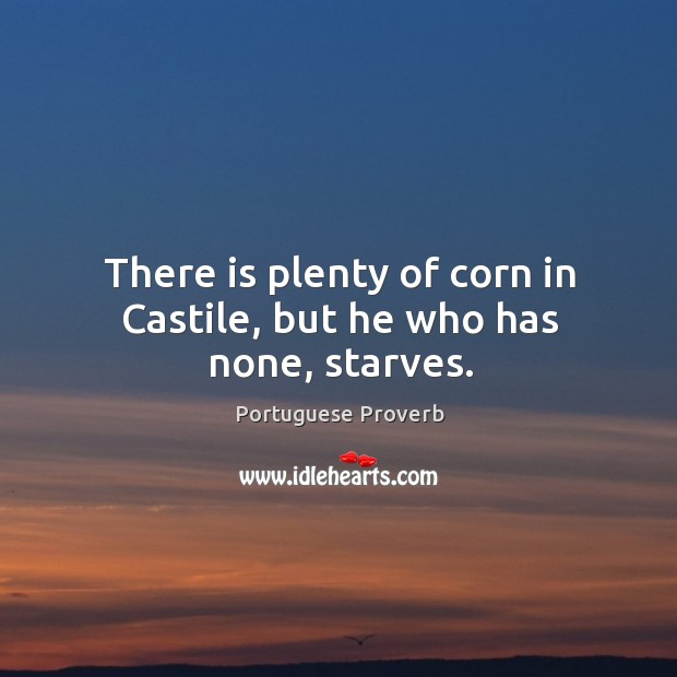 There is plenty of corn in castile, but he who has none, starves. Image