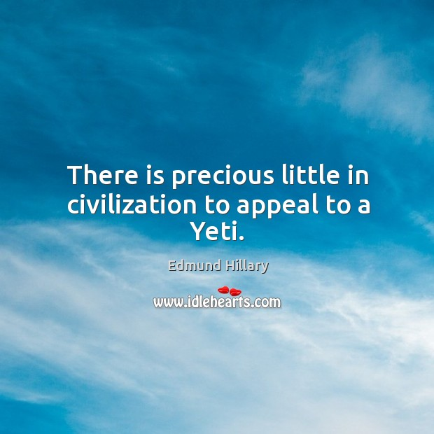 There is precious little in civilization to appeal to a yeti. Image