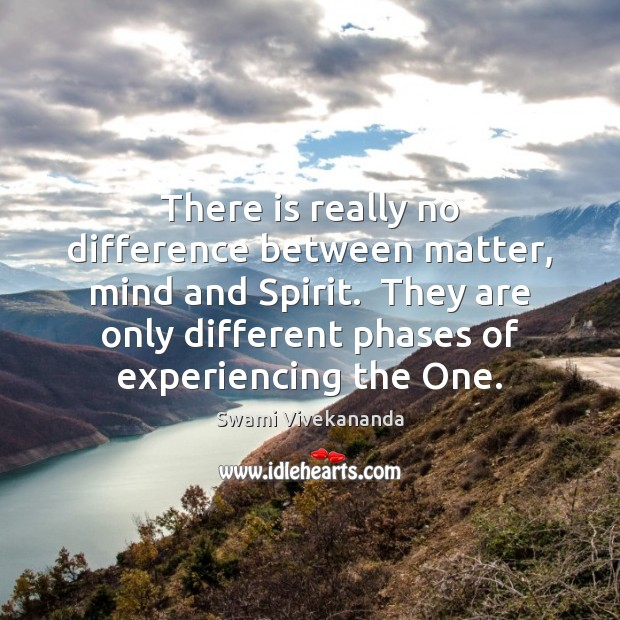 There is really no difference between matter, mind and Spirit.  They are Image