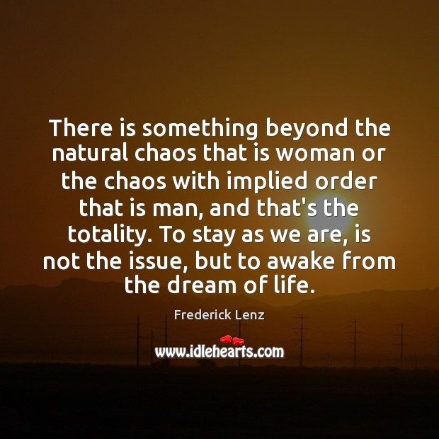 There is something beyond the natural chaos that is woman or the Image