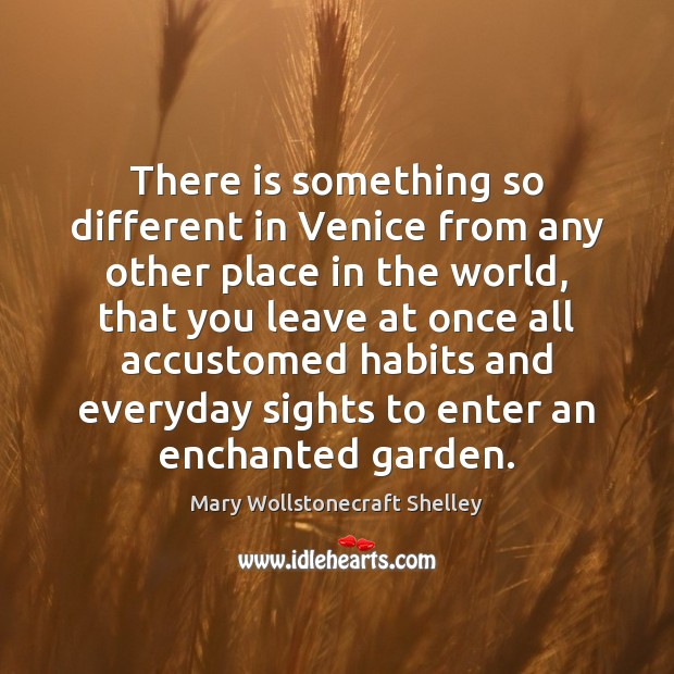 There is something so different in Venice from any other place in Mary Wollstonecraft Shelley Picture Quote