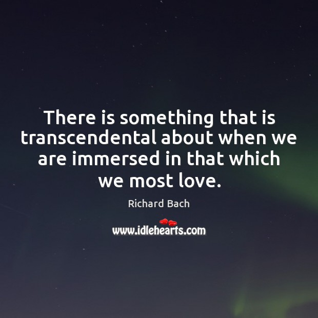 There is something that is transcendental about when we are immersed in Richard Bach Picture Quote