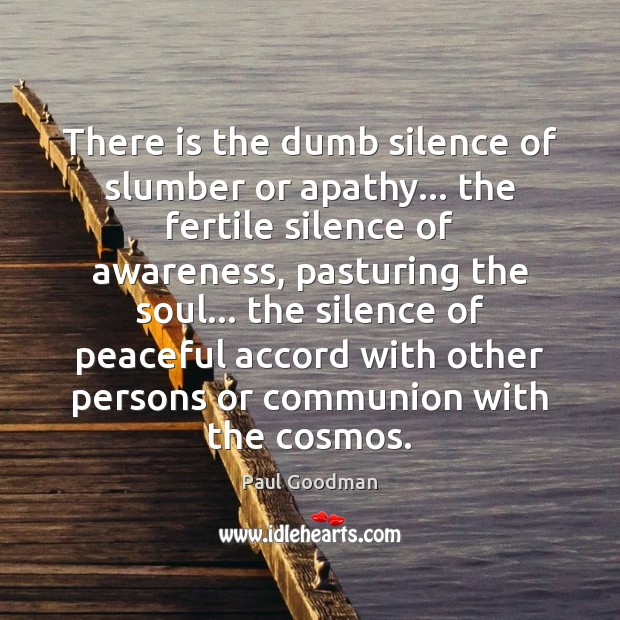 There is the dumb silence of slumber or apathy… the fertile silence Paul Goodman Picture Quote