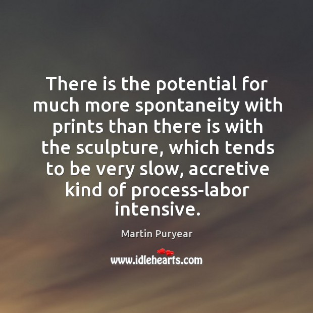 There is the potential for much more spontaneity with prints than there Martin Puryear Picture Quote