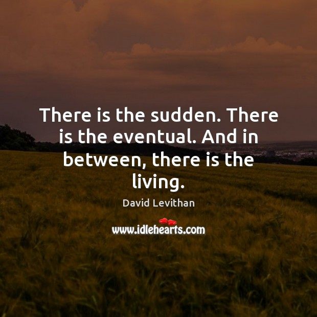 There is the sudden. There is the eventual. And in between, there is the living. David Levithan Picture Quote