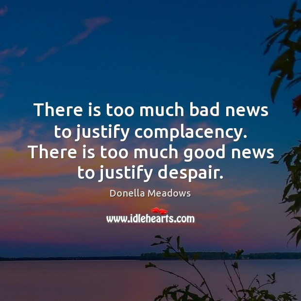 There is too much bad news to justify complacency. There is too Donella Meadows Picture Quote