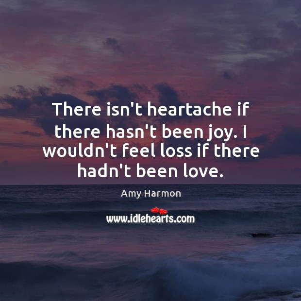 Image, There isn't heartache if there hasn't been joy. I wouldn't feel loss