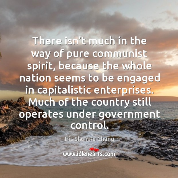 There isn't much in the way of pure communist spirit, because the whole nation seems to Iris Shun Ru Chang Picture Quote
