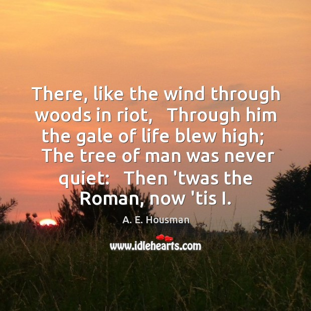 There, like the wind through woods in riot,   Through him the gale Image