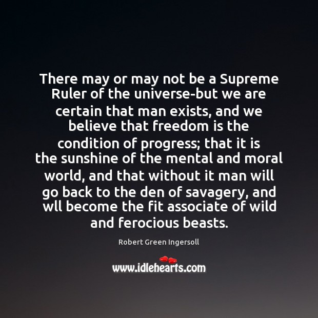 There may or may not be a Supreme Ruler of the universe-but Progress Quotes Image