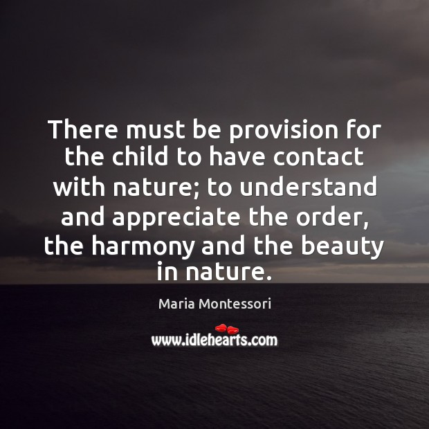There must be provision for the child to have contact with nature; Image