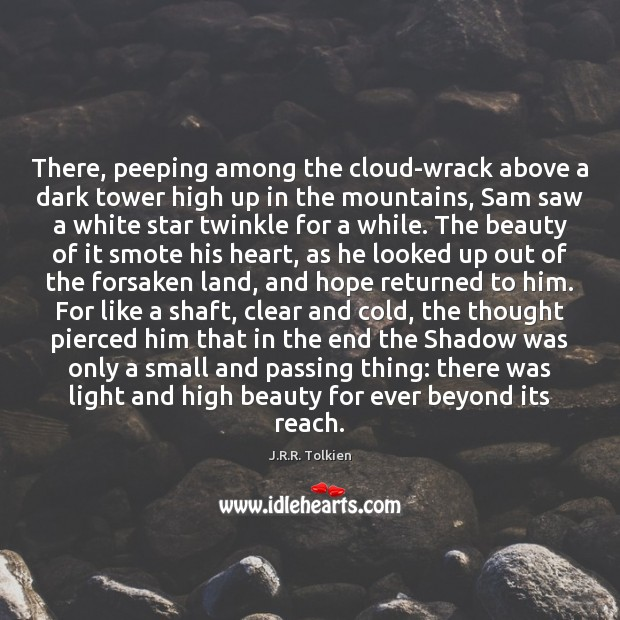 There, peeping among the cloud-wrack above a dark tower high up in Image